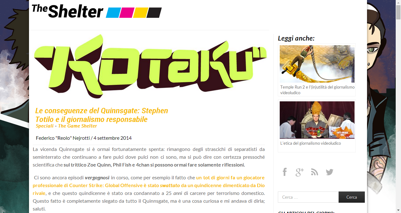 Le conseguenze del Quinnsgate: Stephen Totilo e il giornalismo responsabile