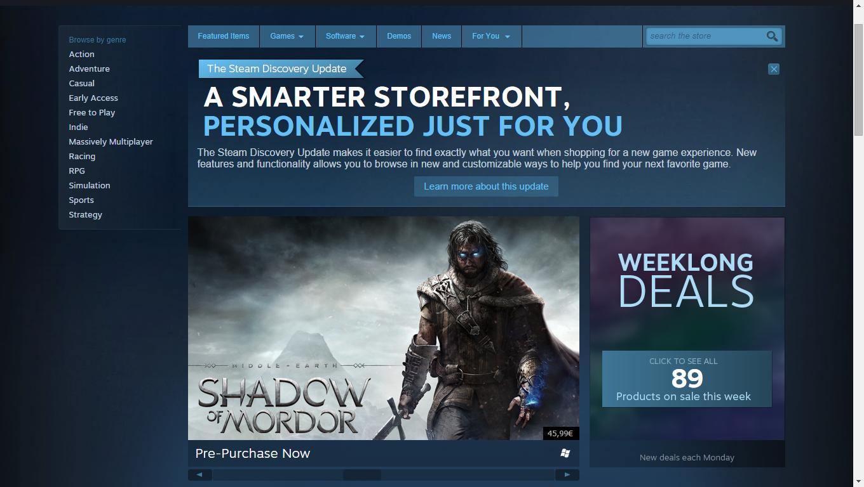 Steam si aggiorna con curatori e consigli personalizzati